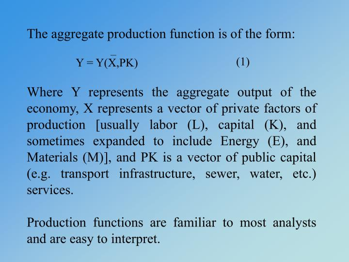 The aggregate production function is of the form: