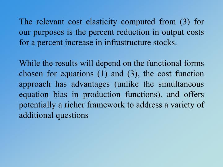 The relevant cost elasticity computed from (3) for our purposes is the percent reduction in output costs for a percent increase in infrastructure stocks.