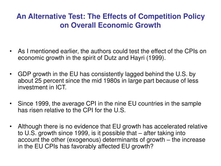 An Alternative Test: The Effects of Competition Policy on Overall Economic Growth
