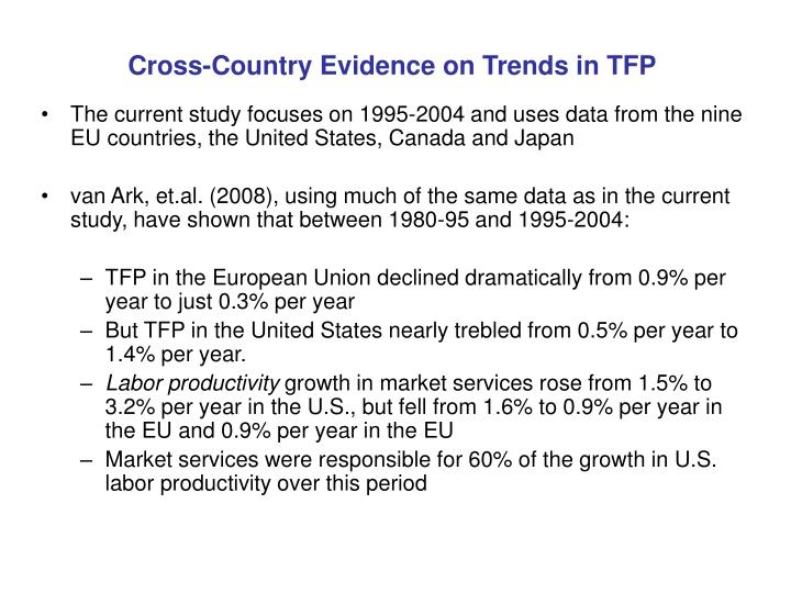 Cross-Country Evidence on Trends in TFP