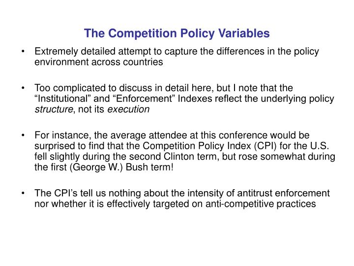 The Competition Policy Variables