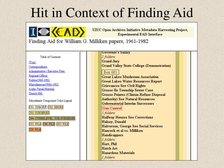 Hit in Context of Finding Aid
