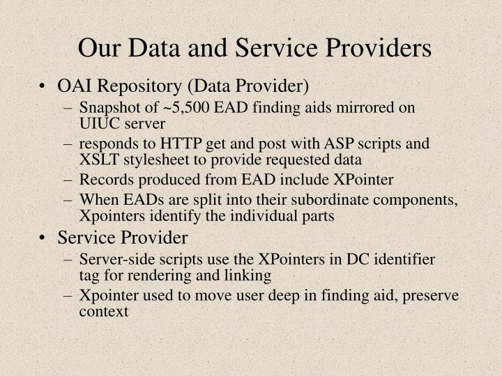Our Data and Service Providers