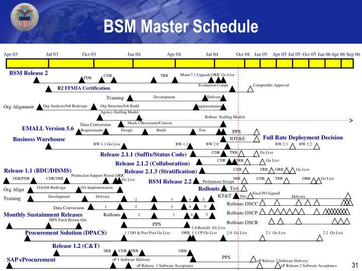 BSM Master Schedule