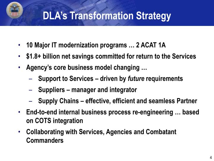 DLA's Transformation Strategy