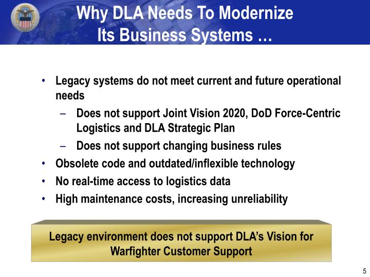 Why DLA Needs To Modernize