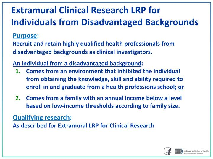 Extramural Clinical Research LRP for Individuals from Disadvantaged Backgrounds