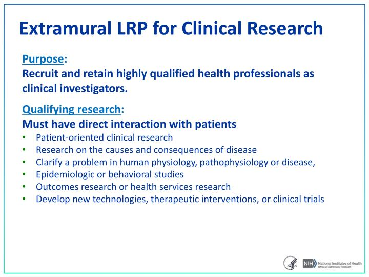 Extramural LRP for Clinical Research