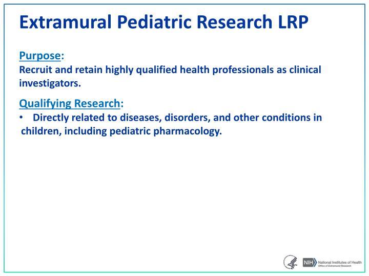 Extramural Pediatric Research LRP