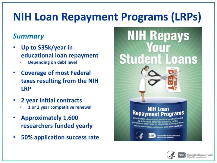 NIH Loan Repayment Programs (LRPs)