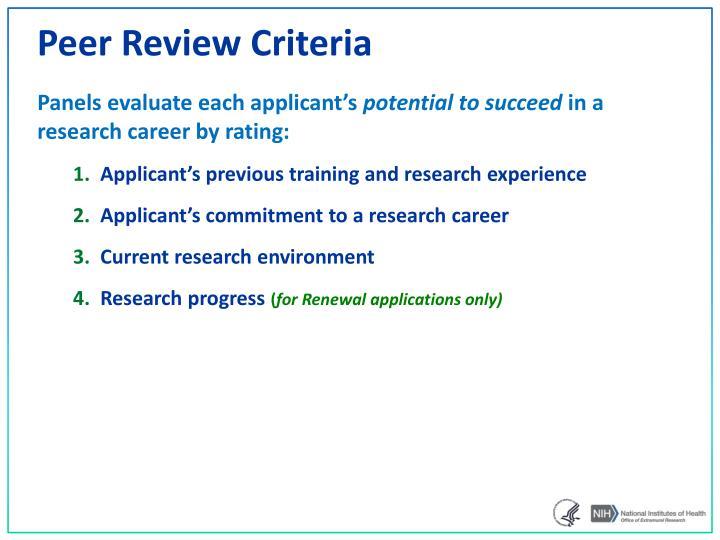 Peer Review Criteria