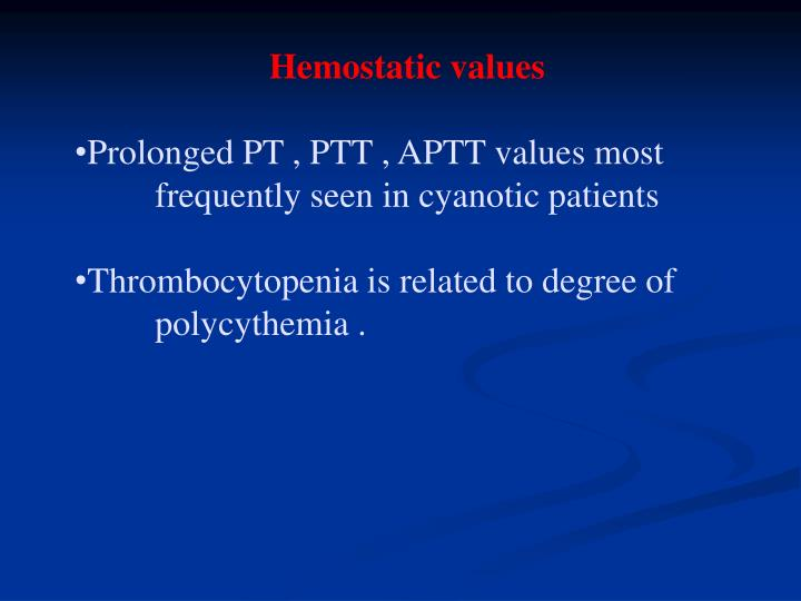 Hemostatic values