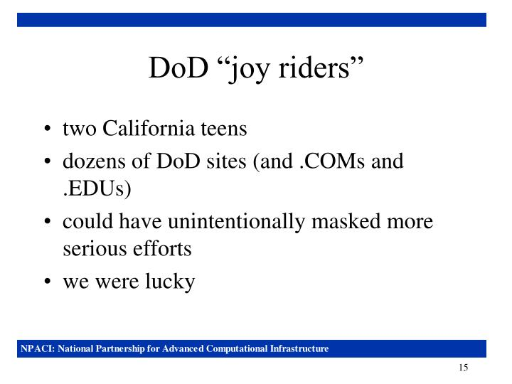 "DoD ""joy riders"""