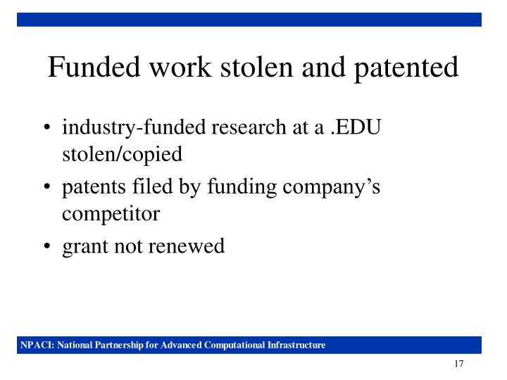 Funded work stolen and patented