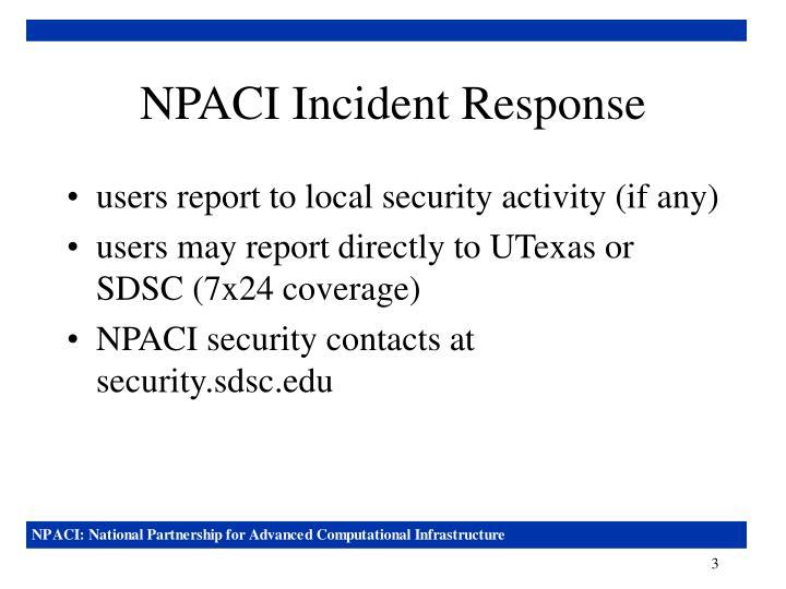 NPACI Incident Response