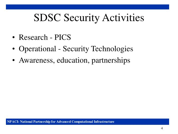 SDSC Security Activities