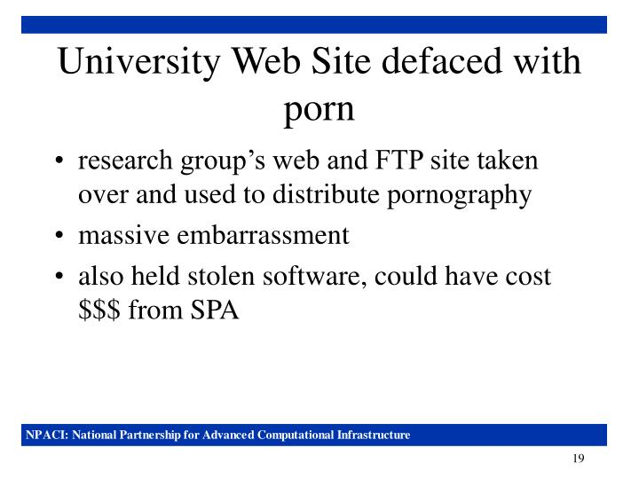 University Web Site defaced with porn