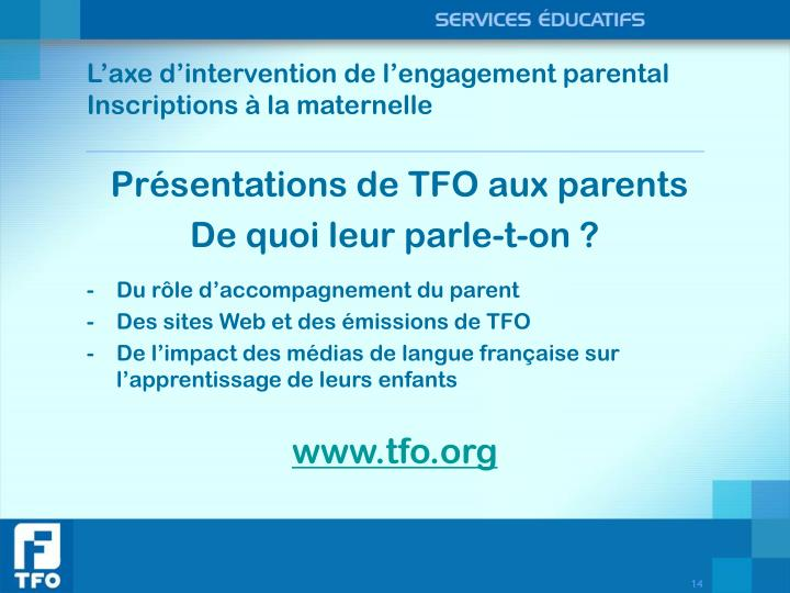 L'axe d'intervention de l'engagement parental
