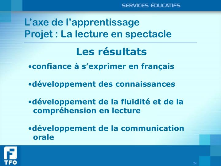 L'axe de l'apprentissage