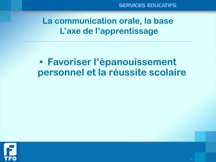 La communication orale, la base