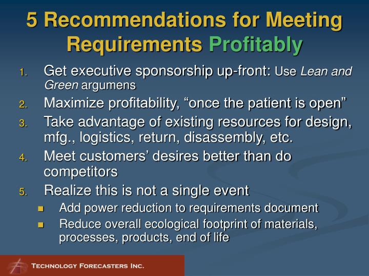 5 Recommendations for Meeting Requirements