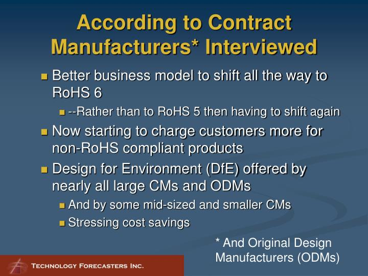 According to Contract Manufacturers* Interviewed