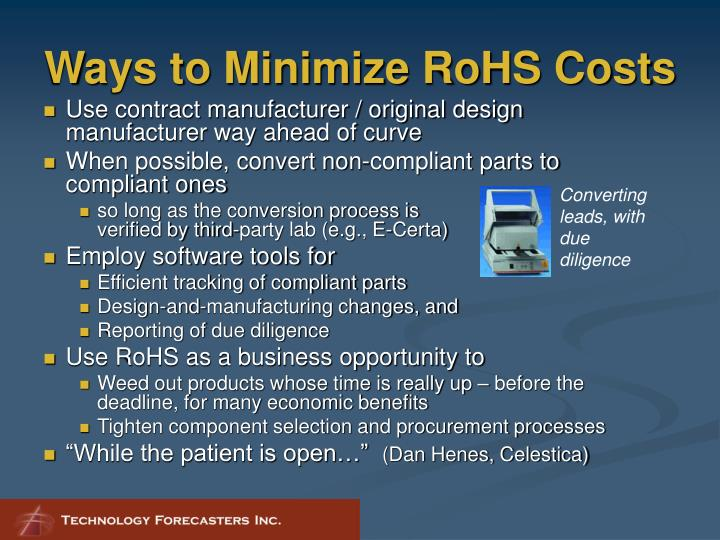 Ways to Minimize RoHS Costs