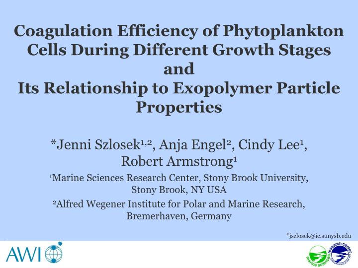 Coagulation Efficiency of Phytoplankton Cells During Different Growth Stages