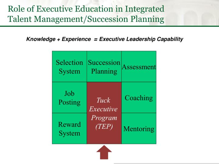 Role of Executive Education in Integrated Talent Management/Succession Planning