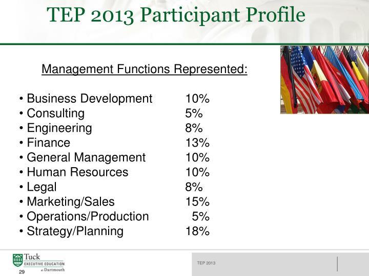 TEP 2013 Participant Profile