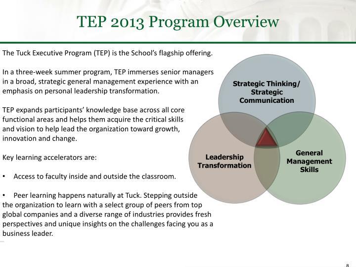 TEP 2013 Program Overview