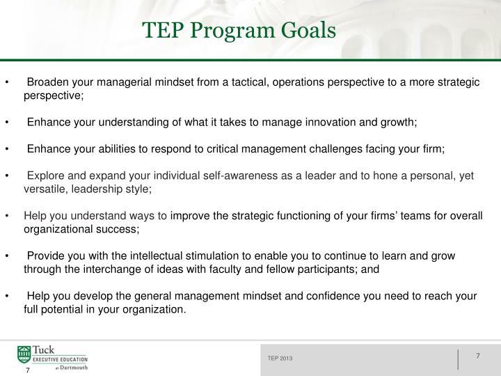 TEP Program Goals
