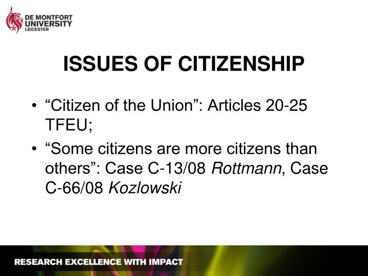 ISSUES OF CITIZENSHIP