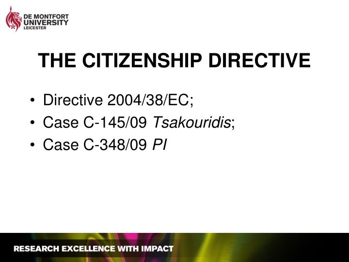 THE CITIZENSHIP DIRECTIVE