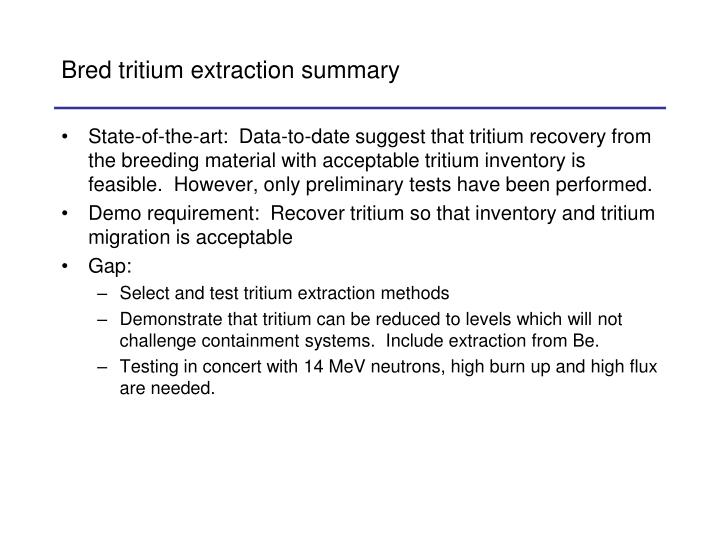 Bred tritium extraction summary