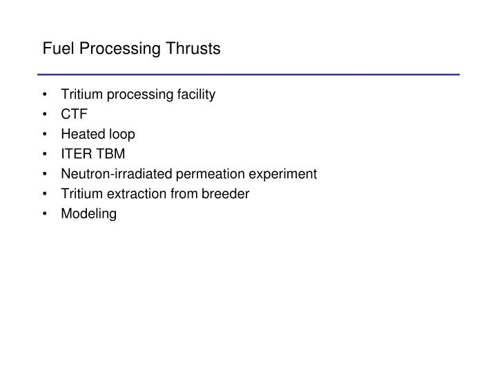 Fuel Processing Thrusts