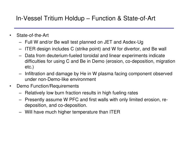 In-Vessel Tritium Holdup – Function & State-of-Art