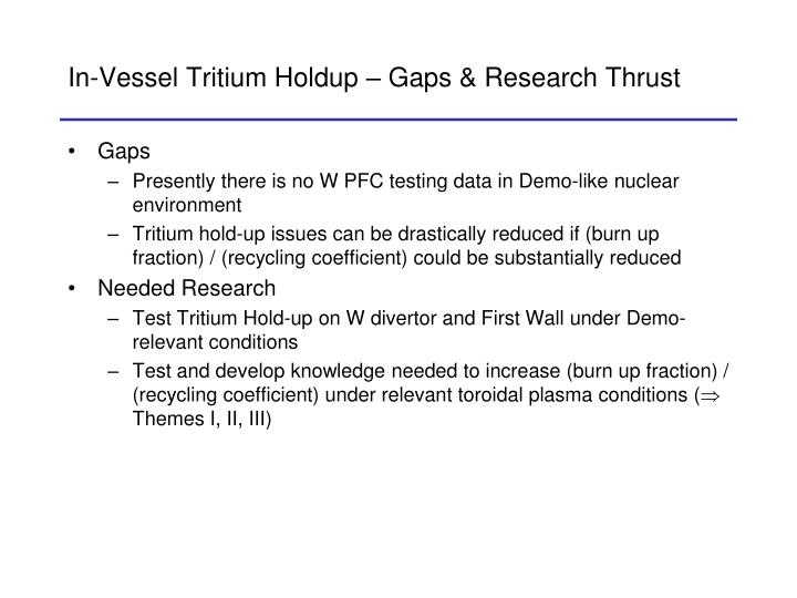 In-Vessel Tritium Holdup – Gaps & Research Thrust
