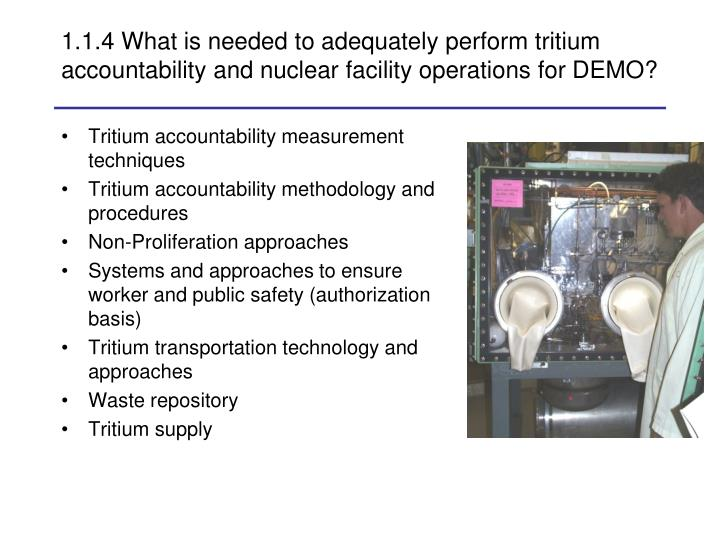 1.1.4 What is needed to adequately perform tritium accountability and nuclear facility operations for DEMO?