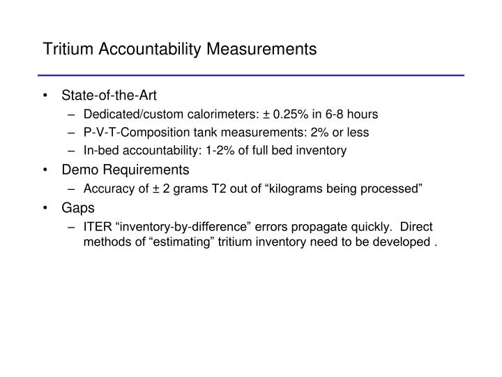 Tritium Accountability Measurements