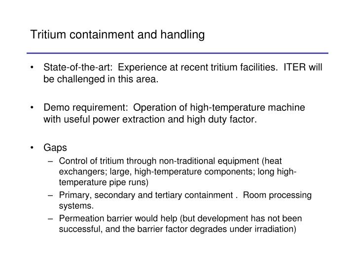 Tritium containment and handling
