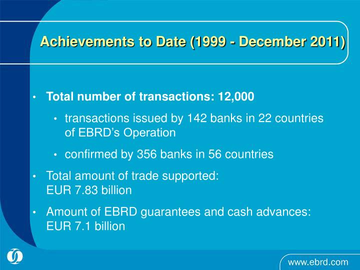 Achievements to Date (1999 - December 2011)