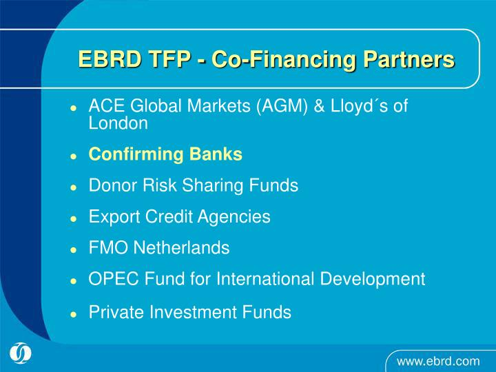 EBRD TFP - Co-Financing Partners