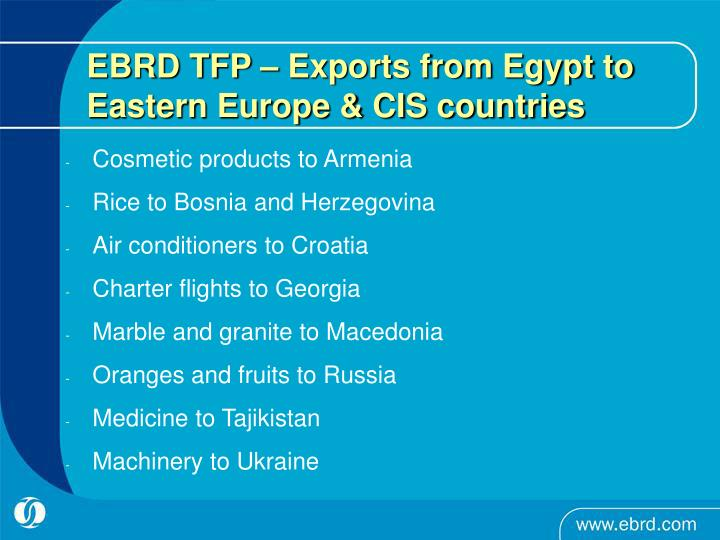 EBRD TFP – Exports from Egypt to Eastern Europe & CIS countries