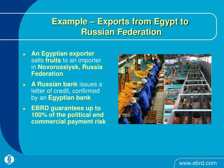 Example – Exports from Egypt to
