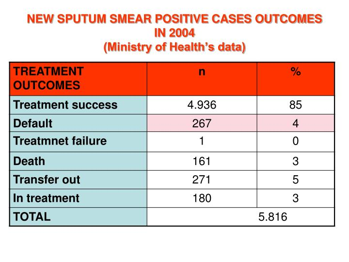 NEW SPUTUM SMEAR POSITIVE CASES OUTCOMES IN 2004