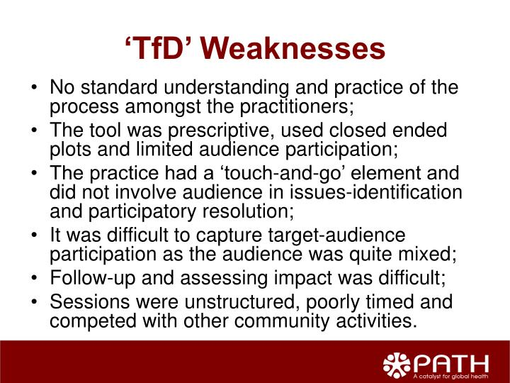 'TfD' Weaknesses