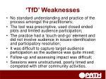 tfd weaknesses
