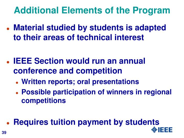 Additional Elements of the Program