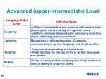 advanced upper intermediate level